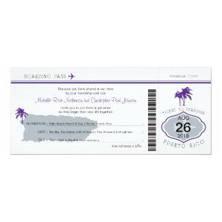 Boarding Pass to Puerto Rico Wedding Card