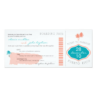 Boarding Pass to Puerto Rico Wedding Invitation