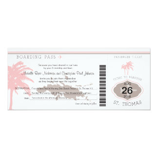 Boarding Pass to St Thomas Brown & Pink Card