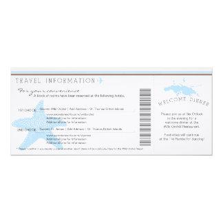 Boarding Pass to St. Thomas Wedding Travel Info Custom Invites