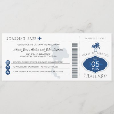Boarding Pass to Thailand Save the Date
