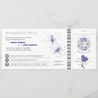 Boarding Pass to Thailand Wedding Invitation