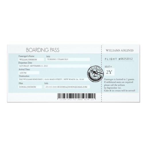 Boarding Pass (Today's Best Award) 4x9.25 Paper Invitation Card