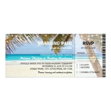 Beach Themed Boarding Pass Tropical Beach Flamingo Wedding Card