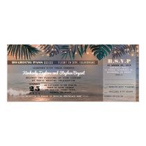 Boarding Pass Tropical Beach Lights Wedding Ticket Card