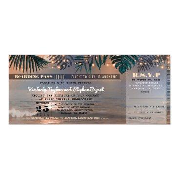 lovelywow Boarding Pass Tropical Beach Lights Wedding Ticket Card