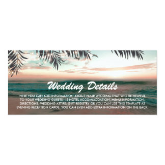 Boarding Pass Tropical Beach Wedding Details Card