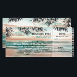 """Boarding Pass Tropical Beach Wedding Tickets RSVP Card<br><div class=""""desc"""">Beach destination boarding wedding invitations with a tropical palm beach setting, string twinkle lights, and a modern wedding template. For further personalization, please click the &quot;Customize it&quot; button to modify this template. All text style, colors, and sizes can be modified to suit your needs. You will find other matching wedding...</div>"""