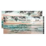 Boarding Pass Tropical Beach Wedding Tickets RSVP Card