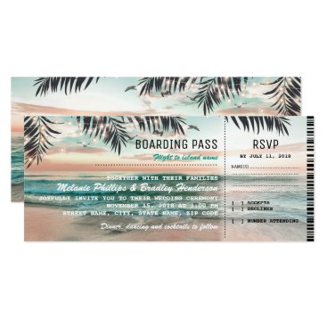 Beach Themed Boarding Pass Tropical Beach Wedding Tickets RSVP Card