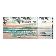 Boarding Pass Tropical Beach Wedding Tickets RSVP Invitations