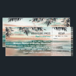 """Boarding Pass Tropical Beach Wedding Tickets RSVP Invitation<br><div class=""""desc"""">Beach destination boarding wedding invitations with a tropical palm beach setting, string twinkle lights, and a modern wedding template. For further personalization, please click the &quot;Customize it&quot; button to modify this template. All text style, colors, and sizes can be modified to suit your needs. You will find other matching wedding...</div>"""
