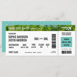Boarding Pass Vintage Beach Save the Date