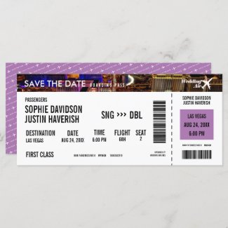 Boarding Pass Vintage Las Vegas Save the Date