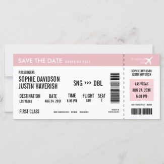 Boarding Pass Vintage Pink and White Save the Date