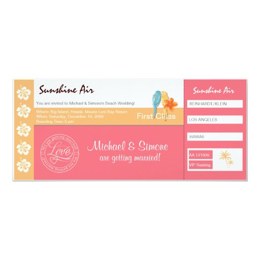 Boarding Pass Wedding Invitation coral pink