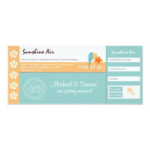 Boarding Pass Wedding Invitation turquoise orange
