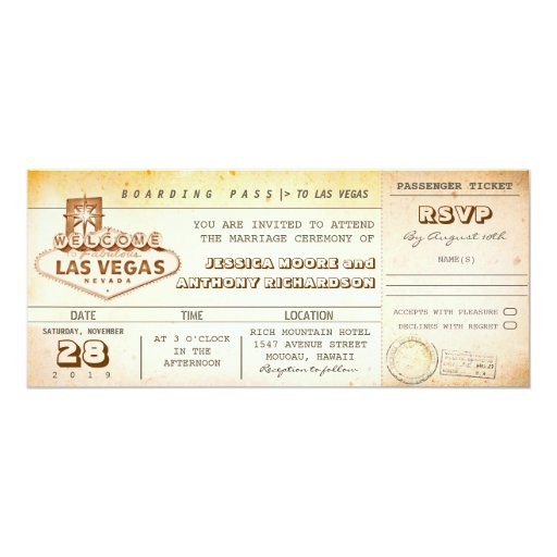 "boarding pass wedding tickets-invitation LAS VEGAS 4"" X 9 ..."