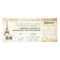 boarding pass wedding tickets- invitations PARIS