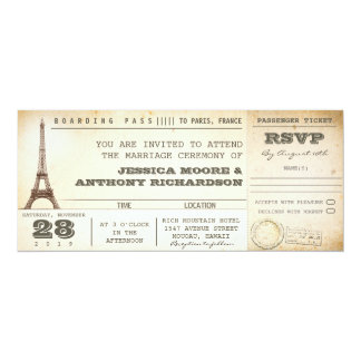 "boarding pass wedding tickets- invitations PARIS 4"" X 9.25"" Invitation Card"