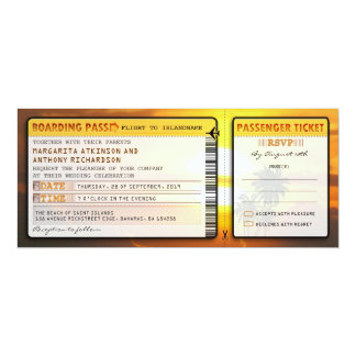 """boarding pass wedding tickets-invites with rsvp 4"""" x 9.25"""" invitation card"""