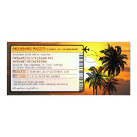 boarding pass wedding tickets-invites with sunset 4&quot; x 9.25&quot; invitation card (<em>$2.57</em>)