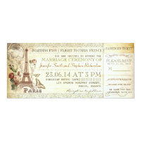 boarding pass wedding tickets to PARIS 4x9.25 Paper Invitation Card (<em>$2.52</em>)
