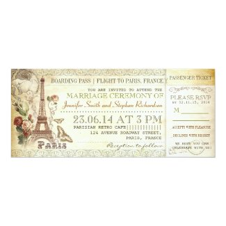 boarding pass wedding tickets to PARIS 4 X 9.25 Invitation Card