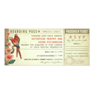 """boarding pass wedding tickets with rsvp 4"""" x 9.25"""" invitation card"""