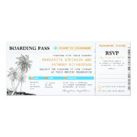 boarding pass wedding tickets with RSVP together Card (<em>$2.57</em>)