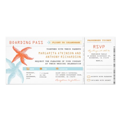 boarding pass wedding tickets with RSVP together Custom Invitation