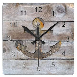 Boardwalk Anchor Design. Square Wall Clock