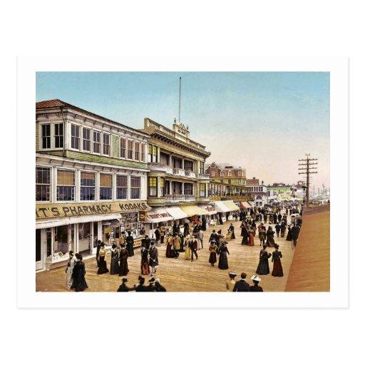 Boardwalk at Atlantic City 1900 Vintage Post Card
