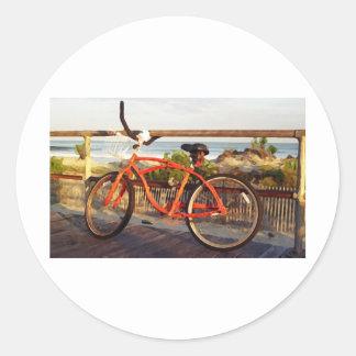 Boardwalk Bike Classic Round Sticker