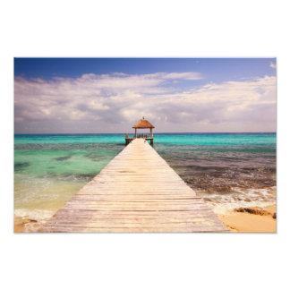 Boardwalk Dock into the Caribbean Sea Photograph