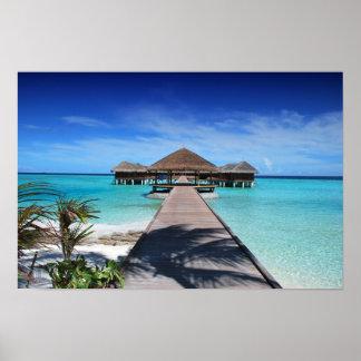 Boardwalk, Dock to Cabanas, Beach, Ocean, Maldives Poster
