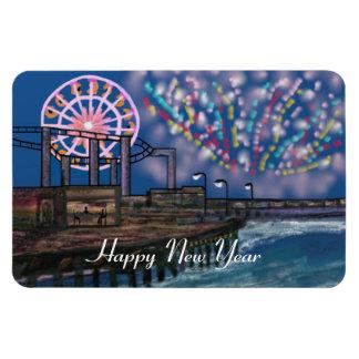 Boardwalk Fireworks New Year Rectangular Photo Magnet