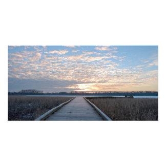 Boardwalk Sunrise in Wildlife Refuge Photo Card