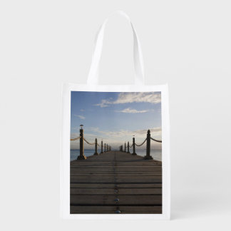Boardwalk Themed, Wooden Boardwalk With Rope Raili Market Totes