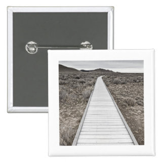 Boardwalk through the desert 2 inch square button