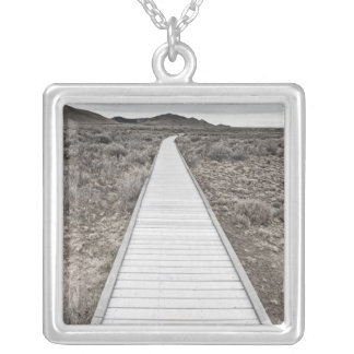 Boardwalk through the desert silver plated necklace