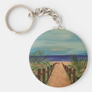 Boardwalk to the Beach Button Keychain