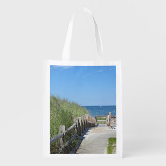 Boardwalk to the beach reusable grocery bags