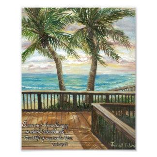 Boardwalk with Two Palms- Psalms 134:8b Photo Print