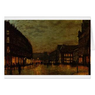 Boars Lane, Leeds by Lamplight by John Atkinson Card