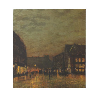 Boars Lane, Leeds by Lamplight by John Atkinson Notepad