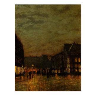 Boars Lane, Leeds by Lamplight by John Atkinson Postcard