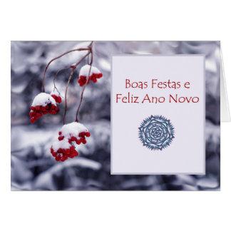 Boas Festas e Feliz Ano Novo, navidad portugués Tarjeta De Felicitación