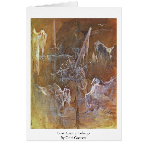 Boat Among Icebergs By Doré Gustave Greeting Cards