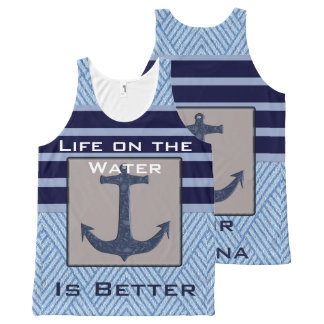 Boat Anchor design & Navy Blue Nautical Stripes All-Over-Print Tank Top
